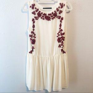 Zara Basic drop waist embroidered dress Med boho